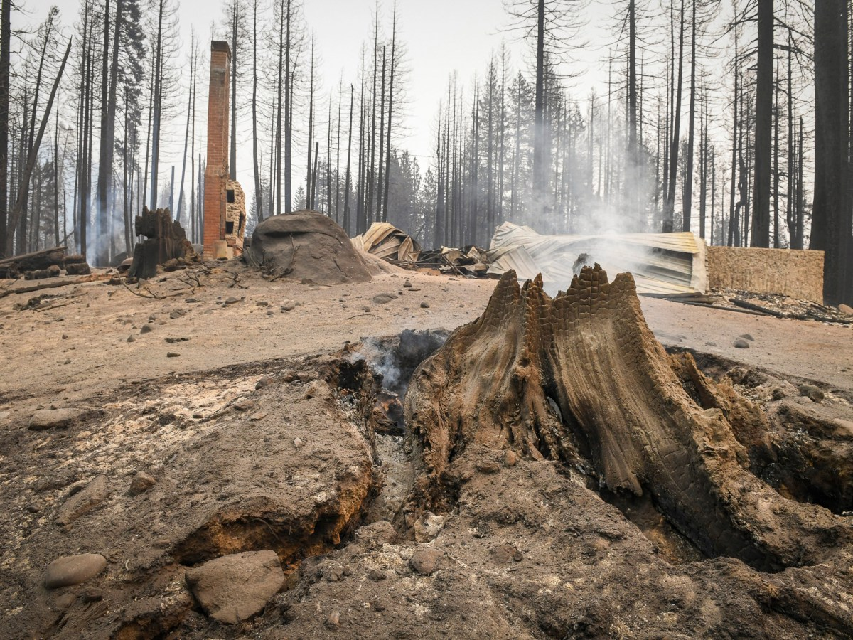 A tree stump smolders in front of a burned cabin in the Camp Silver Fir area on the north side of Huntington Lake in the Sierra National Forest on Sept. 13, 2020. Fire officials said a fire tornado blew through the area at some point last week burning cabins and knocking down many trees. Photo by Craig Kohlruss/The Fresno Bee