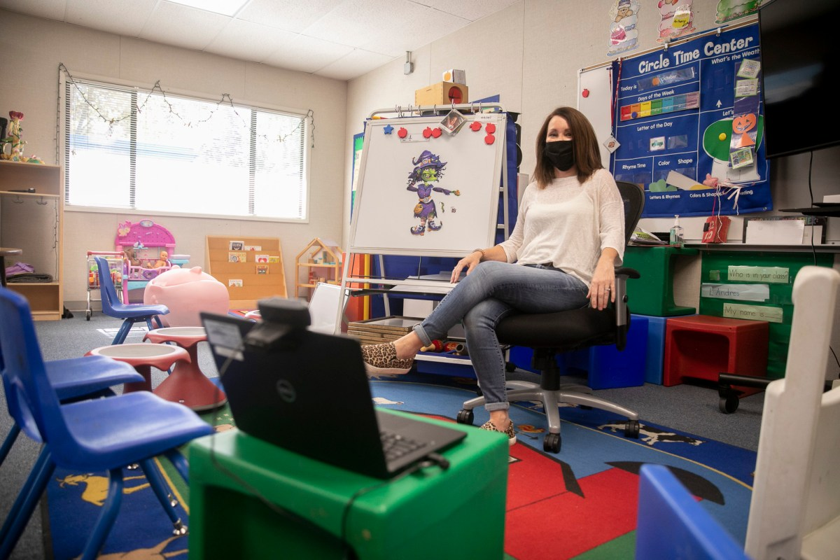 Special education instructor Liz Duffield in her pre-k and kindergarten classroom on the Lu Sutton Elementary school campus in Novato on Oct. 27, 2020. Duffield currently has seven students, one of whom is still doing distance learning. Photo by Anne Wernikoff for CalMatters