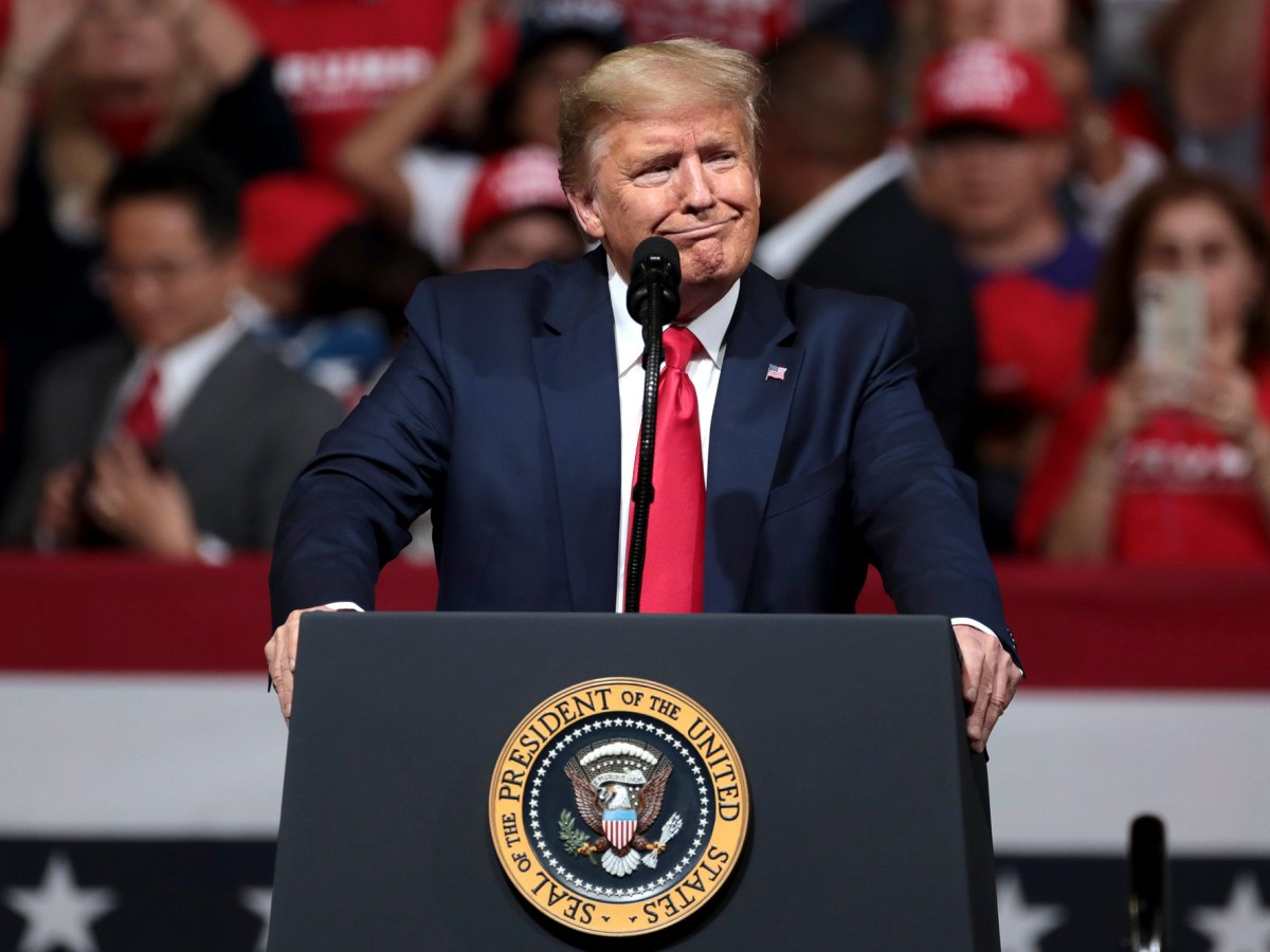 "President Donald Trump speaks at a ""Keep America Great"" rally at Arizona Veterans Memorial Coliseum in Phoenix, Arizona on February 19, 2020. Photo by Gage Skidmore via Flickr"
