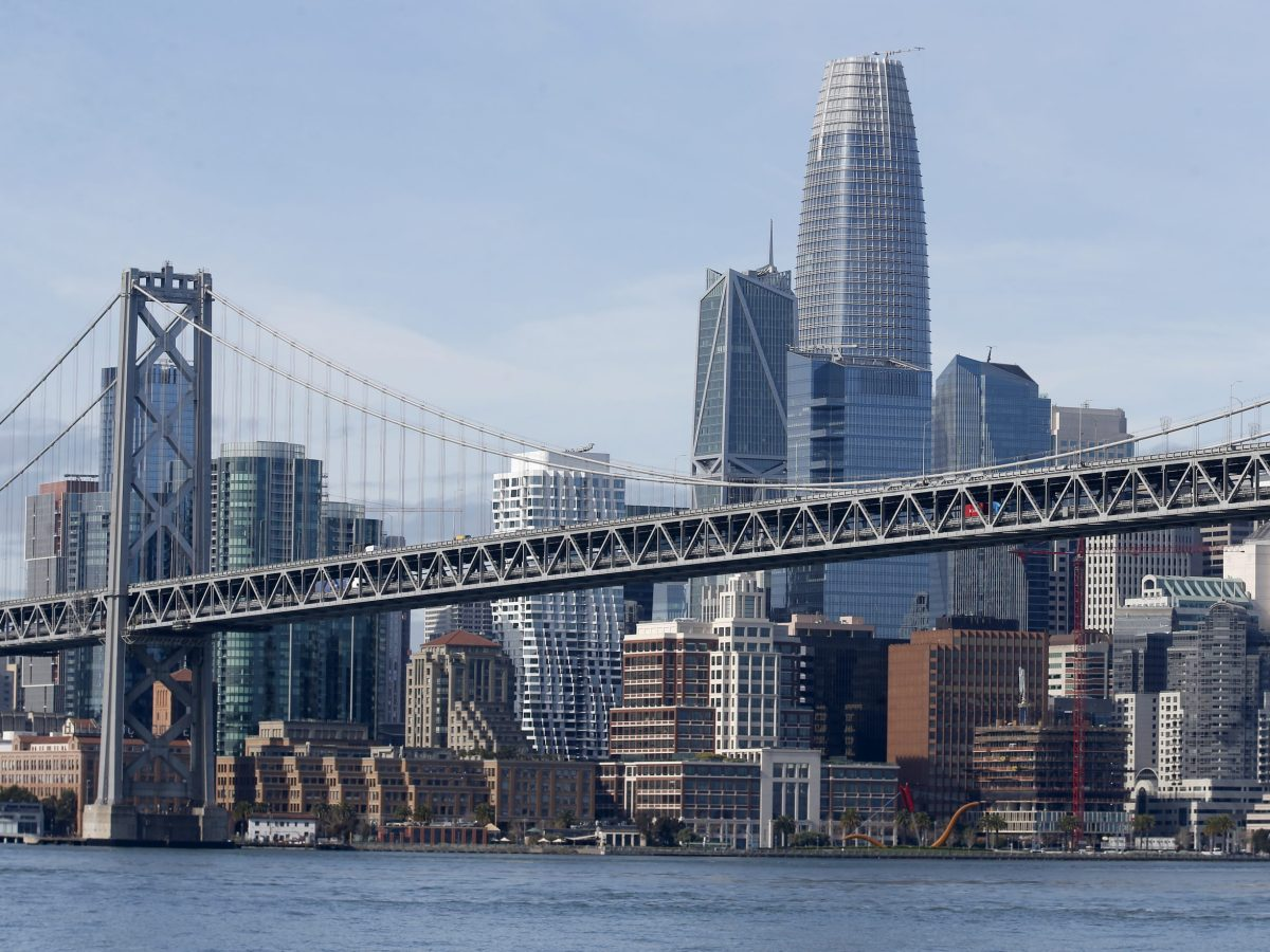 The Bay Bridge and the San Francisco skyline including the Salesforce Tower are seen in this view from the bay on Monday, March 9, 2020. Photo by Jane Tyska, Bay Area News Group