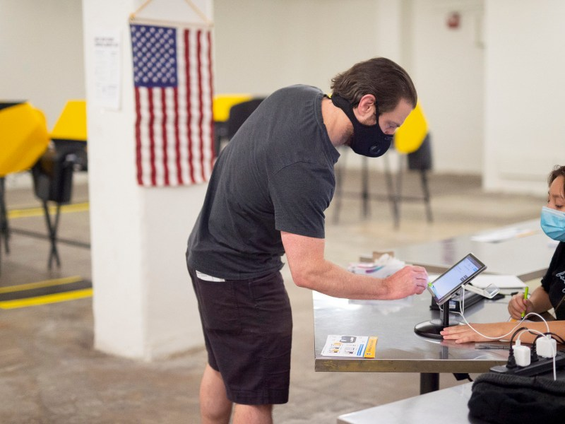 Voting Centers opened across Los Angeles County, including Grand Central Market, on October 24, 2020. Voters can drop-off ballots or vote in person before Nov. 3rd. Photo Credit by Los Angeles County via Flickr