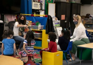 A special education pre-k class that has been permitted to reopen amid coronavirus concerns on the Lu Sutton Elementary school campus in Novato on Oct. 27, 2020. Photo by Anne Wernikoff for CalMatters