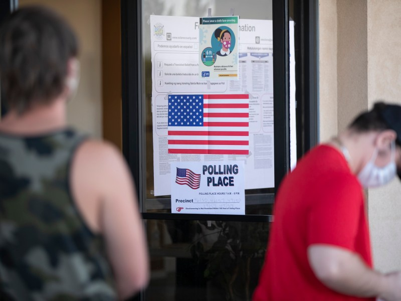 Voters line up at New Hope church in Vacaville on Nov. 3, 2020. Photo by Anne Wernikoff for CalMatters