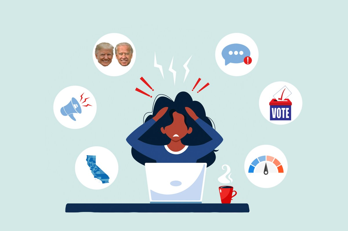 A frazzled woman at a computer is surrounded by thought bubbles of voting charts, candidates and ads. Nerves are frazzled, anxiety is high. Here's a survival guide with clues to how to watch returns on election night in California. Illustration by Anne Wernikoff for CalMatters; iStock; White HouseIllustration by Anne Wernikoff for CalMatters; iStock; White House