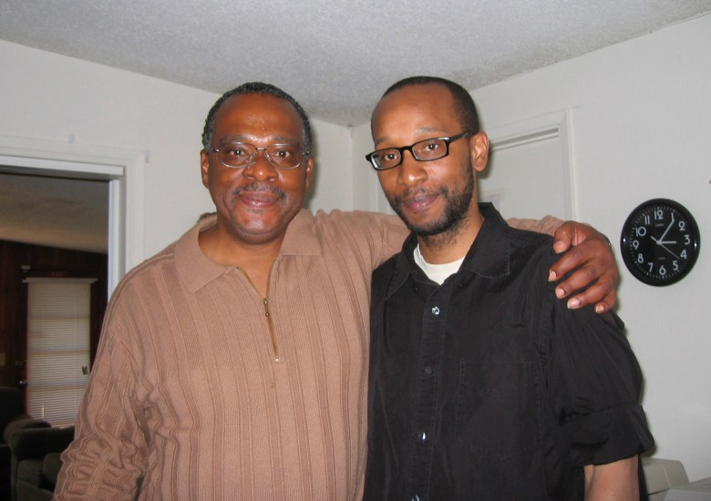 Jai Barksdale, left, and his son, Amiri Barksdale, during a 2007 visit. The elder Barksdale died on Aug. 5 at Patton State Hospital after falling ill with COVID-19. Photo courtesy of Amiri Barksdale