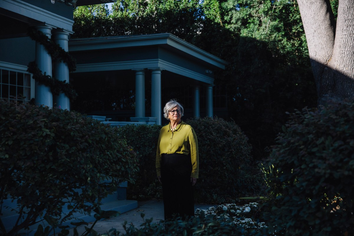 Mary Nichols, who has been chairwoman of the California Air Resources Board since 2007, poses for a portrait outside her home in Los Angeles on Dec. 15, 2020. Photo by Kendrick Brinson for CalMatters