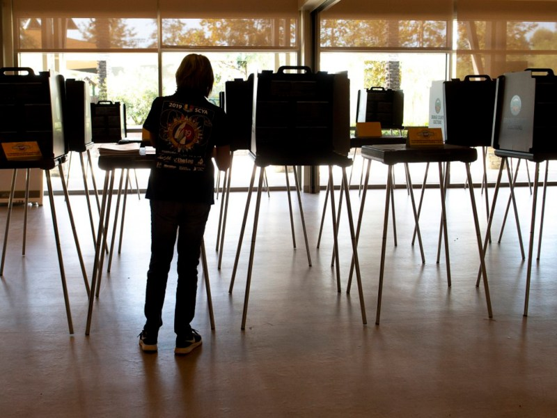 Poll workers prepare the voting center at Lake Forest Sports Park for Friday's opening on Wednesday, October 28, 2020. Photo by Mindy Schauer, Orange County Register/SCNG