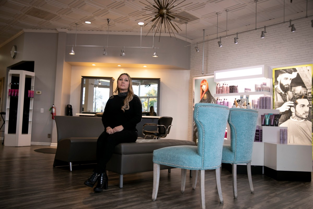 Denise Russell, owner of Special FX Salon & Day Spa in San Jose, photographed in the waiting area of her salon on Jan. 15, 2020. Russell, who has been in business for more than 30 years, says she misses her clients and stylists. Photo by Anne Wernikoff, CalMatters