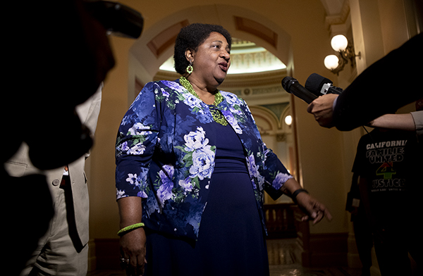 Assemblymember Shirley Weber gives a press conference in the capitol following the passage of her bill AB 392 which would limit the use of deadly force by police in California on July 8, 2019. Photo by Anne Wernikoff for CalMatters