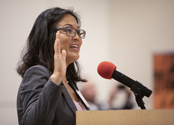 California Labor Secretary Julie Su presides over the swearing-in ceremony of the newly-appointed Future of Work Commission during their first meeting at the California Environmental Protection Agency in Sacramento on September 10, 2019. Photo by Anne Wernikoff for CalMatters