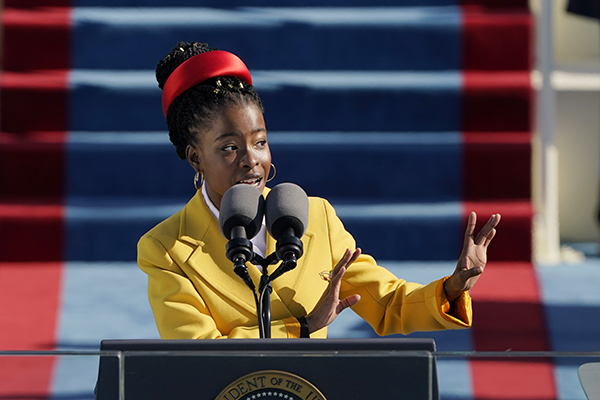 American poet Amanda Gorman reads a poem during the 59th Presidential Inauguration at the U.S. Capitol in Washington on Jan. 20, 2021. Photo by Patrick Semansky, AP Photo/Pool