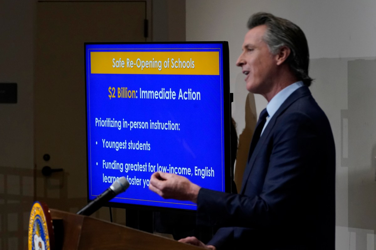 California Gov. Gavin Newsom outlines his 2021-2022 state budget proposal during a news conference in Sacramento, Jan. 8, 2021. Newsom's budget will include at least $2 billion to help schools with testing, increased ventilation and personal protective equipment. Photo by Rich Pedroncelli, AP Photo/Pool