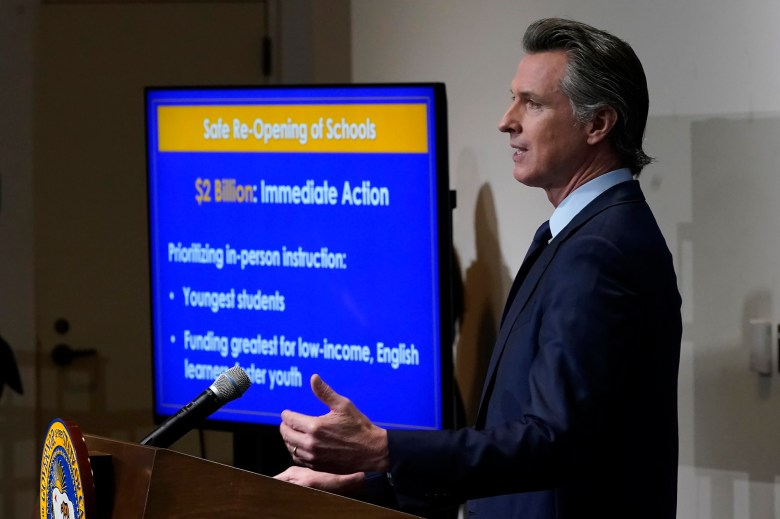 California Gov. Gavin Newsom outlines his budget plan with some visual aids. Photo by Rich Pedroncelli, AP Photo/Pool