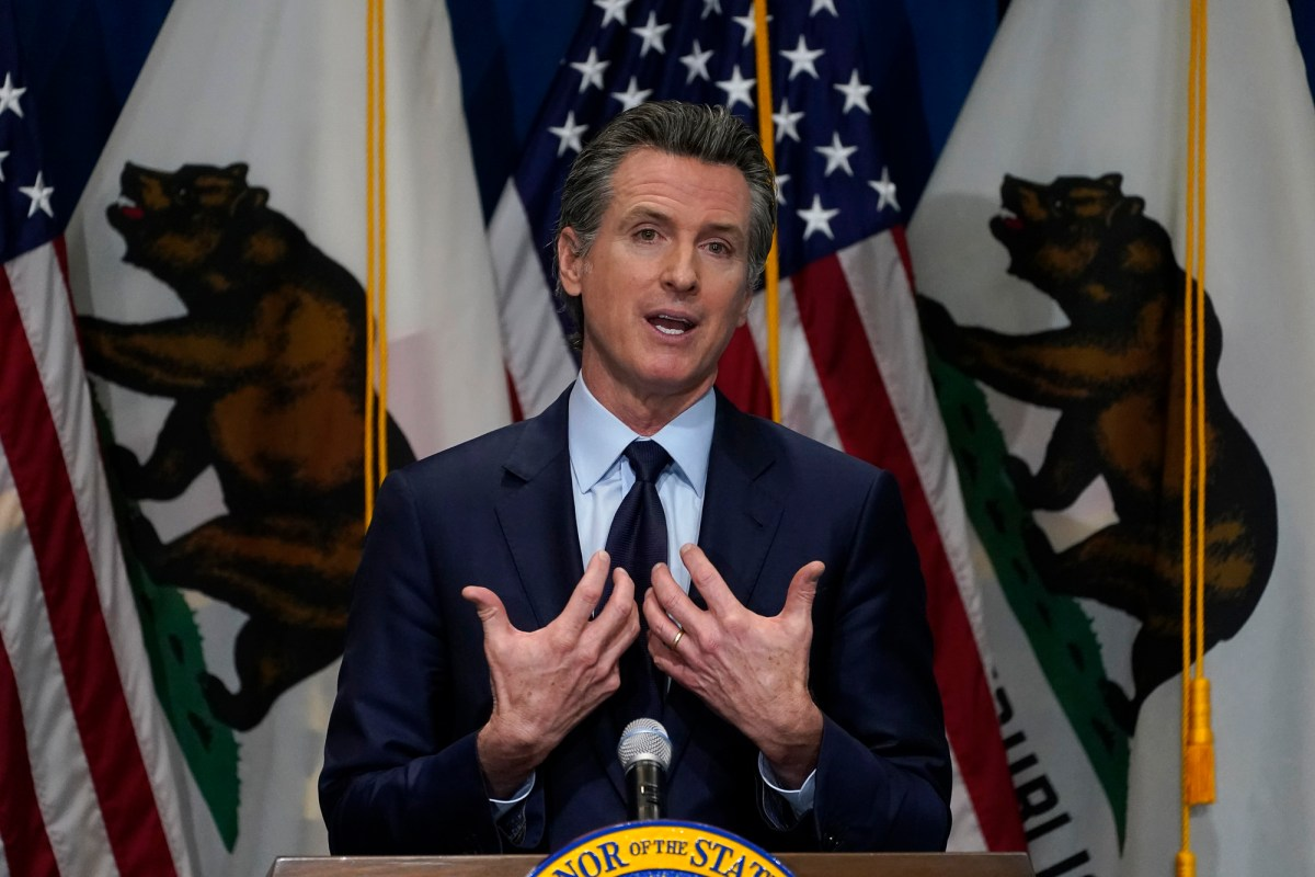 California Gov. Gavin Newsom outlines his 2021-2022 state budget proposal during a news conference in Sacramento, Jan. 8, 2021. Photo by Rich Pedroncelli, AP Photo/Pool