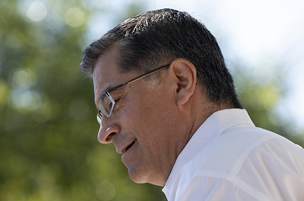 Attorney General Xavier Becerra gives a press conference at the Yolo Bypass Wildlife Area to announce the filing of a new lawsuit against the Trump administration for their rollback of the endangered species act on September 25, 2019. Photo by Anne Wernikoff for CalMatters