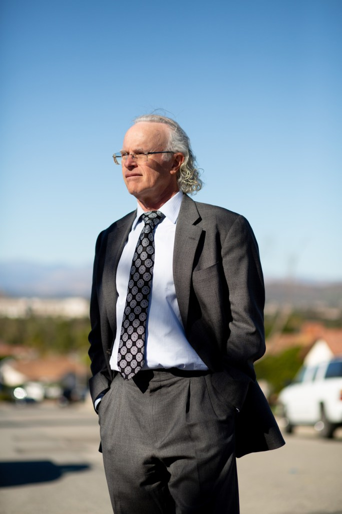 Mike Wasserman stands for a portrait in front of his home in Simi Valley on Feb. 22, 2021. Photo by Shae Hammond for CalMatters