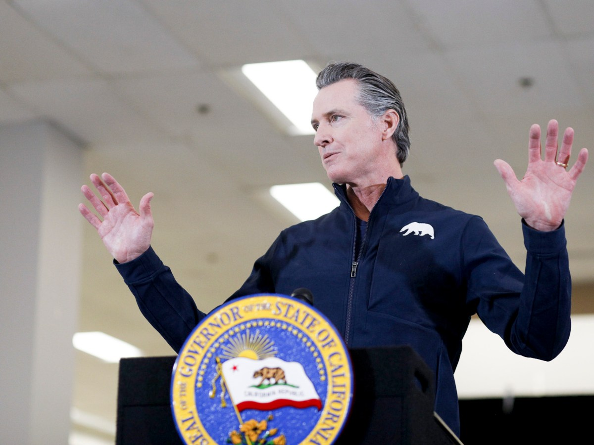 Gov. Gavin Newsom speaks during a press conference after getting vaccinated for COVID-19 at the Baldwin Hills Crenshaw Plaza in Los Angeles on April 1, 2021. Photo by Shae Hammond for CalMatters