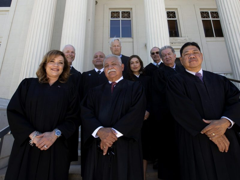 Judges stand for a portrait outside the Imperial County Superior Court on April 29, 2021. Photo by Shae Hammond for CalMatters