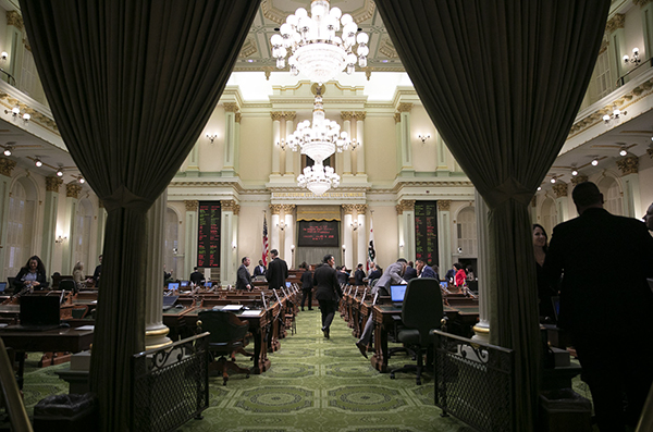 The California Assembly chamber on opening day of the 2020 legislative session. Photo by Anne Wernikoff for CalMatters