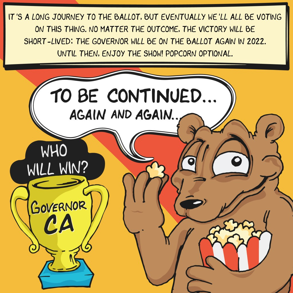 Except to decide on the recall election sometime in November, then we can do it all again next year!
