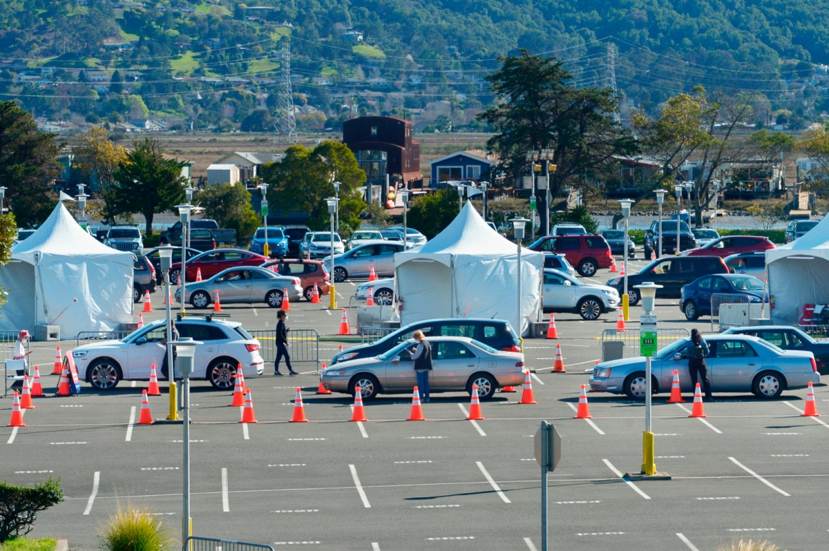 A drive-through vaccination clinic at the Larkspur Ferry Terminal in Larkspur on Tuesday, Feb. 24, 2021. Marin County is tied for highest vaccination rate with Alpine County. Photo by Sherry LaVars, Marin Independent Journal