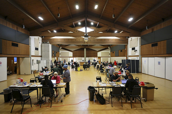 The Optumserve coronavirus vaccination clinic at the Rohnert Park Community Center on February 3, 2021. Photo by Christopher Chung, The Press Democrat