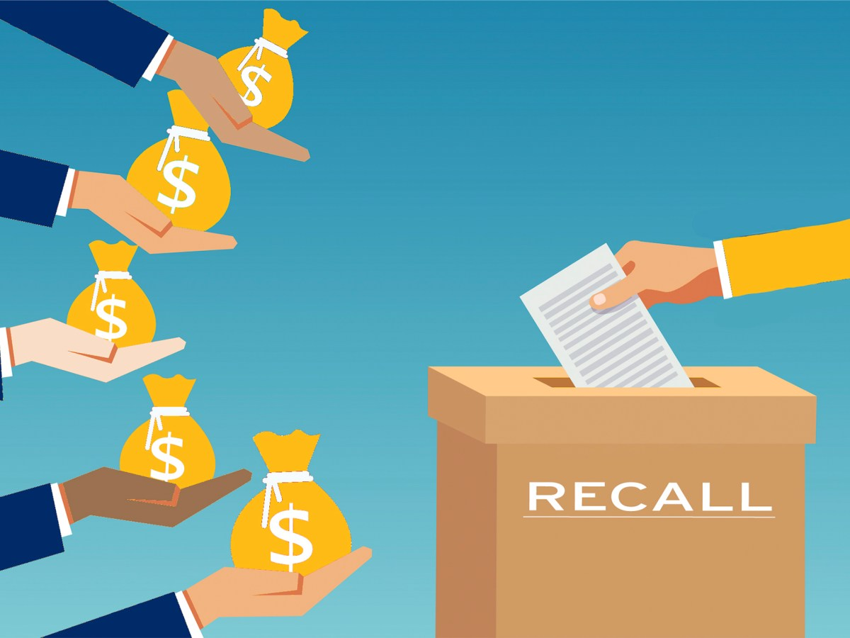 Several hands holding bags of cash move toward a recall ballot box.Though California voters may be divided by geography and class, its pro-and anti-recall campaign donors are not. Image via iStock