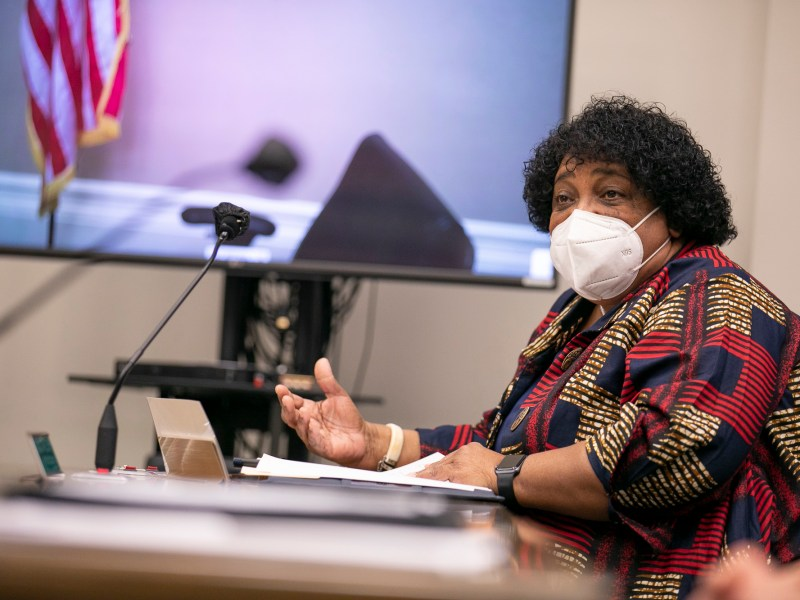 Dr. Shirley Weber testifies during her confirmation hearing as Secretary of State on Jan. 26, 2021 in Sacramento. Photo by Anne Wernikoff, CalMatters
