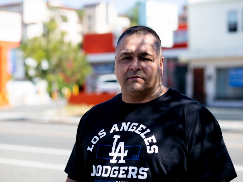 Gabriel Lopez stands for a portrait at his work at Homeboy Industries in Boyle Heights on April 19, 2021. Photo by Shae Hammond for CalMatters