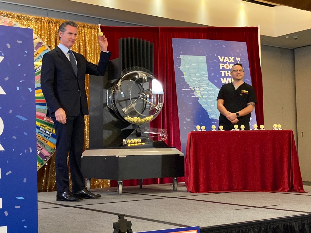 Gov. Gavin Newsom randomly selects cash prize winners at the California Lottery Building in Sacramento on June 4, 2021. Photo by Laurel Rosenhall, CalMatters