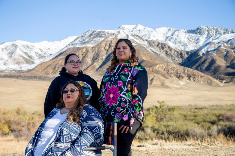 Victoria Chubb, center, with her sister, Rebecca Waters, left, and niece, Robyn Johnson, right, photographed at the Morongo Indian Reservation on Dec. 30, 2020. All three are current students at the California Indians Nations College and hope to transfer to four -year universities after completing their Associates Degree. Photo by Joyce Nugent for CalMatters College Journalism Network