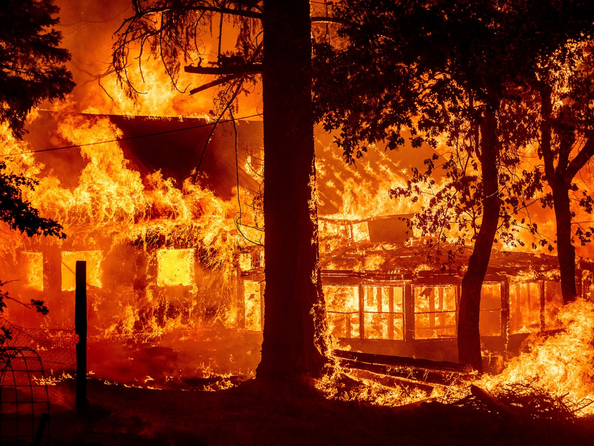 Flames from the Dixie Fire consume a home in the Indian Falls community of Plumas County, July 24, 2021. Photo by Noah Berger, AP Photo