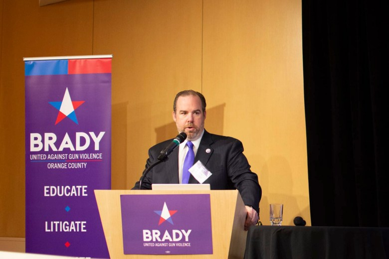 Stephen Lindley, a former state Justice Department official, gives a speech on firearm law implementation at the California Brady Conference in November of 2019. Photo courtesy of Stephen Lindley