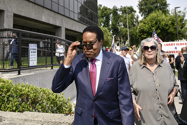Conservative radio talk show host Larry Elder, arrives at a campaign rally in Norwalk, on July 13, 2021. Pablo Unzueta for CalMatters