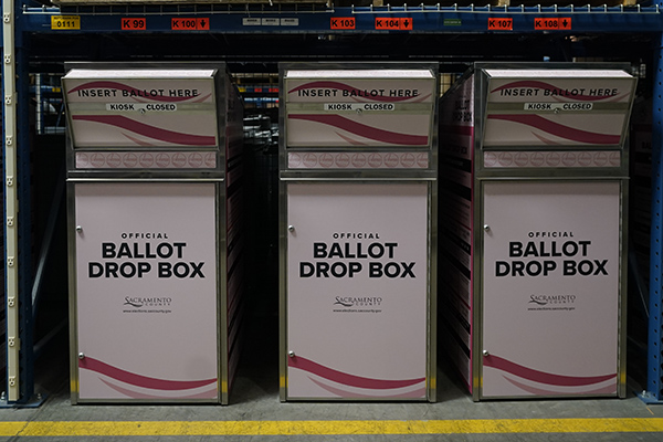New ballot boxes yet to be put out are seen the Sacramento County Registrar of Voters office in Sacramento, Aug. 11, 2021. Conservative websites claim the California remote access vote-by-mail system will allow fraudulent voting in the recall. Photo by Rich Pedroncelli, AP Photo