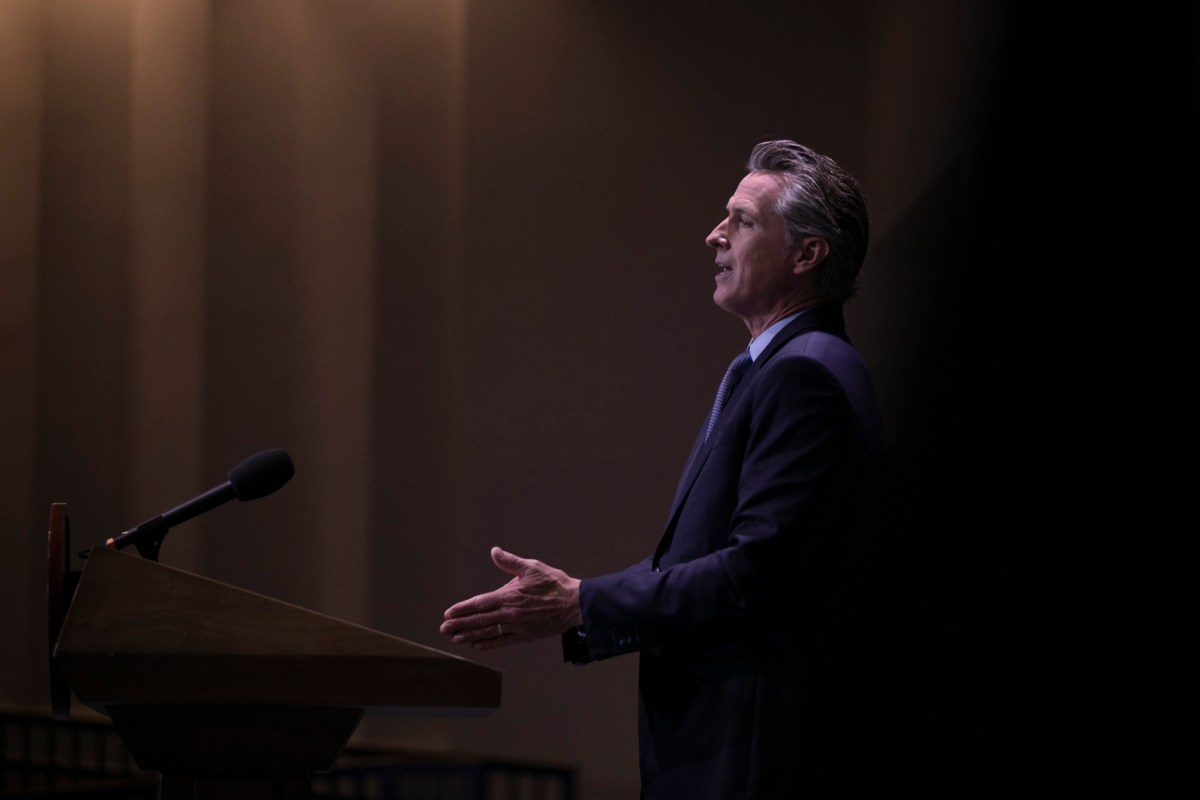 Gov. Gavin Newsom presents the 2021 budget revise in Sacramento on May 14, 2021. Photo by Anne Wernikoff, CalMatters