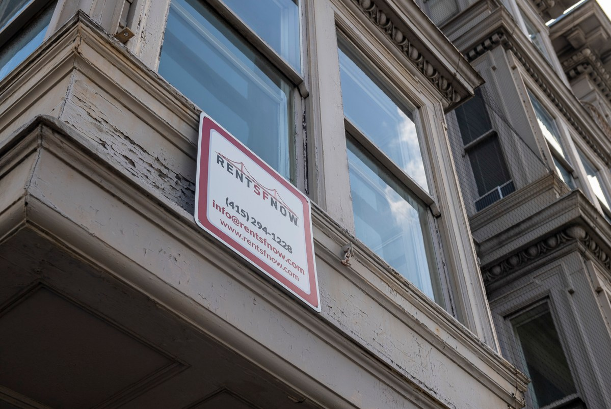 A Rent SF Now sign in San Francisco on Tuesday, March 9, 2021. Photo by David Rodriguez, The Salinas Californian