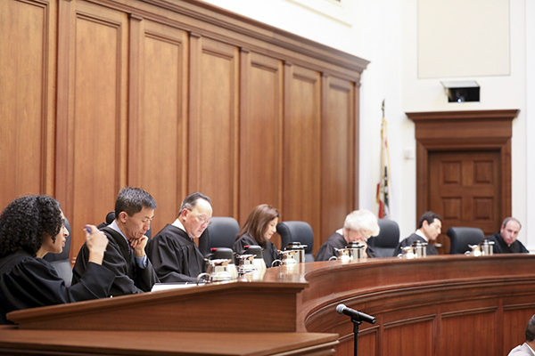 Supreme Court of California justices on the bench. Photo via California Courts