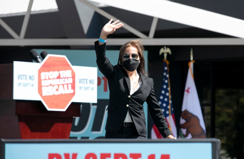 Lt. Gov. Eleni Kounalakis waves to the crowd as she walks toward the podium at an anti-recall campaign event for Gov. Gavin Newsom at the IBEW-NECA training center in San Leandro on Sept. 8, 2021. Photo by Anne Wernikoff, CalMatters