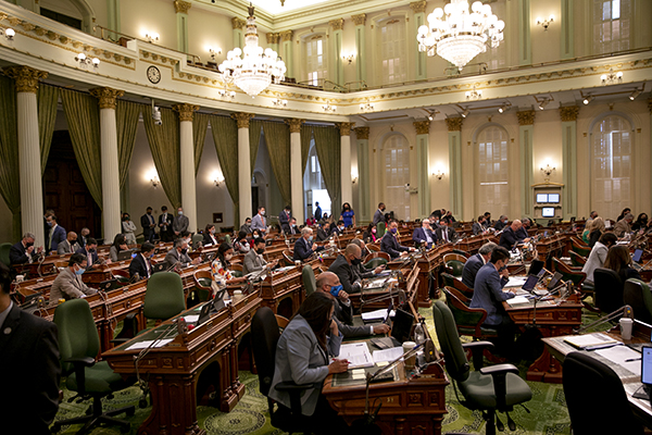 Legislators on the assembly floor on the second-to-last day of the legislative session on Sept. 8, 2021. Photo by Anne Wernikoff, CalMatters