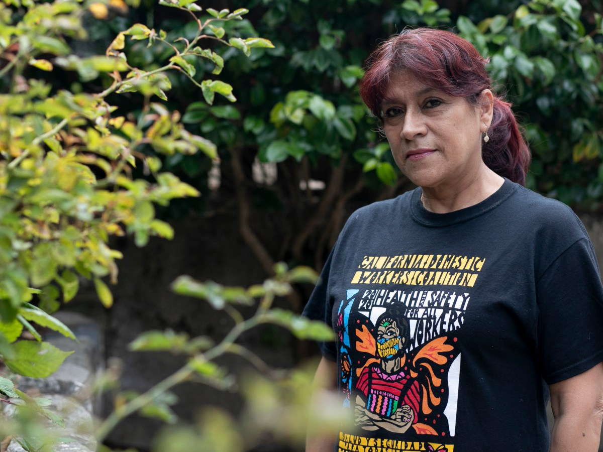 Martha Garrido, a domestic worker who lives in San Francisco, was unable to work for several weeks after breaking her hand but did not have access to paid sick leave. Photo by Anne Wernikoff, CalMatters
