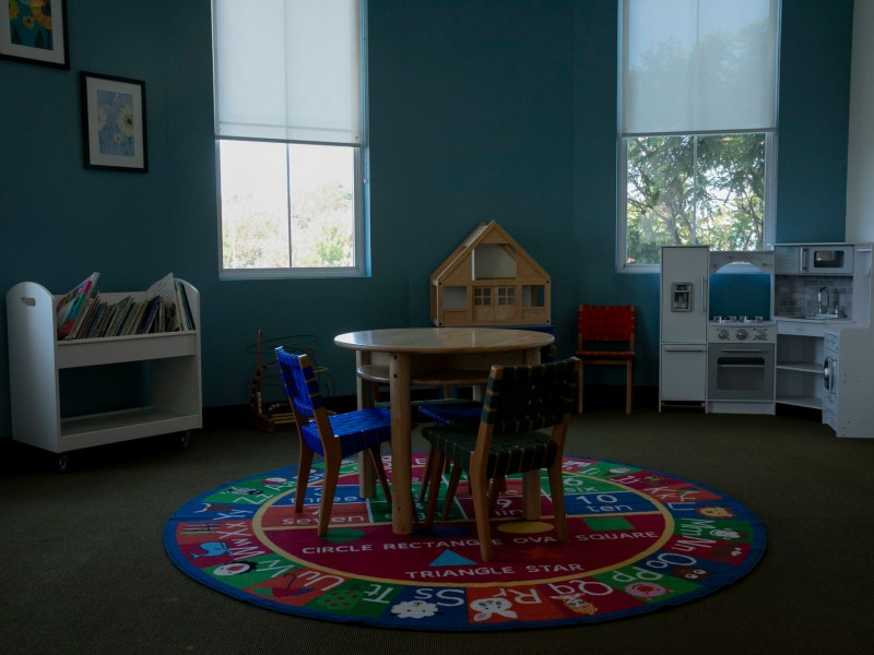 A play area at WestCoast Children's Clinic in Oakland on Sept. 22, 2021. The clinic serves nearly 1500 children annually, many of whom are low-income. Photo by Anne Wernikoff, CalMatters