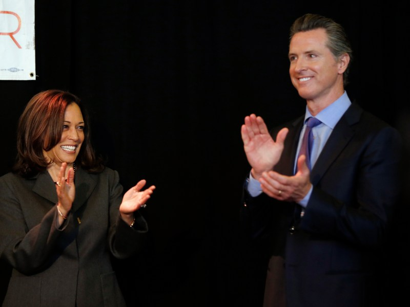 Then Sen. Kamala Harris, left, endorses California Lt. Gov. GavinNewsom for the 2018 California Governor's race at the University of Southern California in Los Angeles on Feb. 16, 2018. VP Harris will stump for Gov. Newsom today in the Bay Area. Photo by Damian Dovarganes, AP Photo