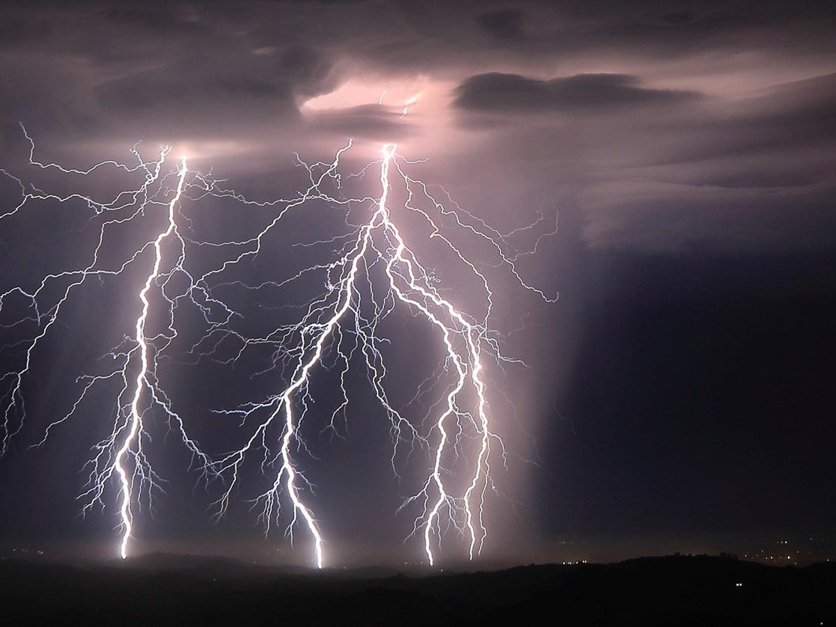Lightning strikes, Sunday, Aug. 16, 2020, as an early morning storm rips across the Santa Rosa plain near Healdsburg. Photo by Kent Porter, The Press Democrat via AP