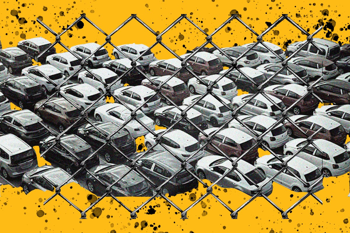 illustration of car tow lot behind chainlink fence