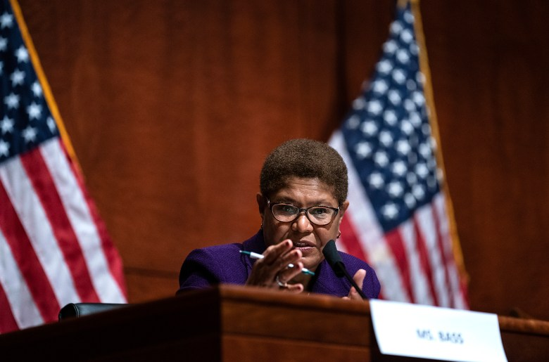 U.S. Rep. Karen Bass of Los Angeles spoke during a House Judiciary Committee hearing in Washington. D.C., on June 10, 2020. Erin Schaff/The New York Times via AP