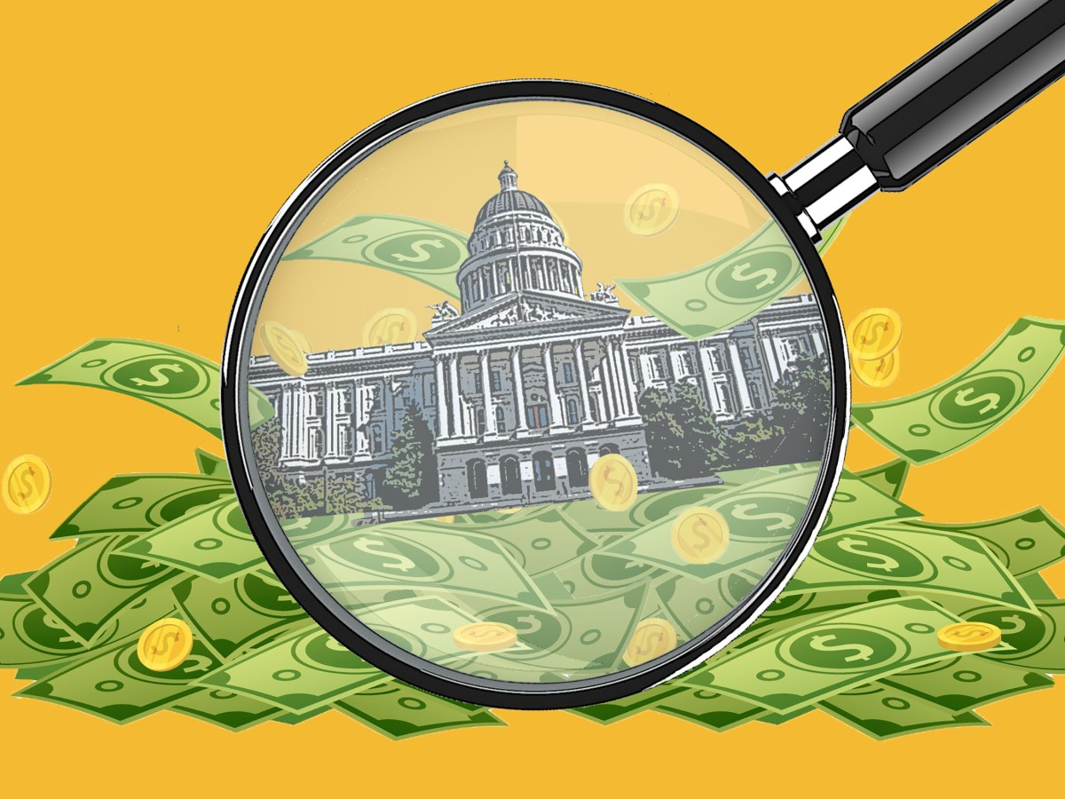 A magnifying glass shows money around the state Capitol. Illustration by Anne Wernikoff for CalMatters; iStock
