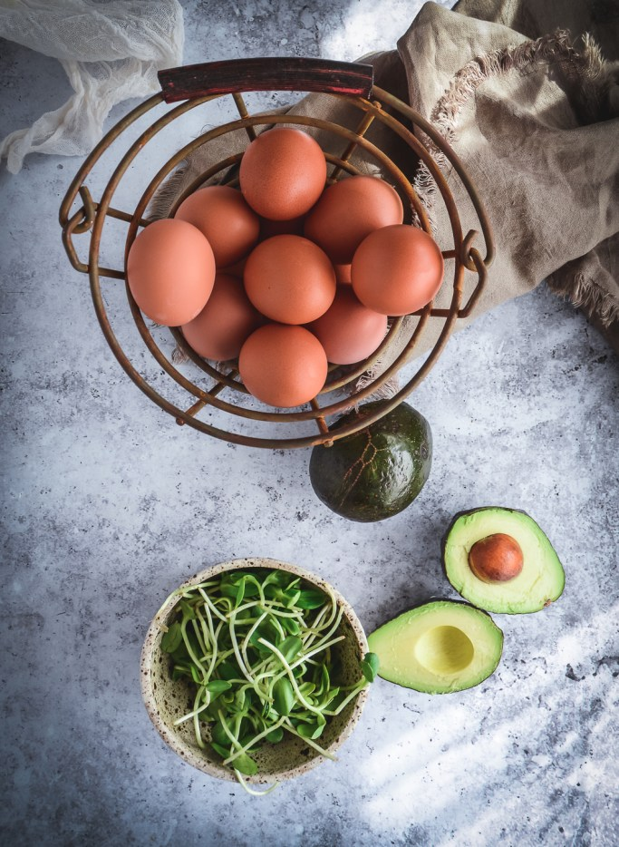 eggs, avocados and greens