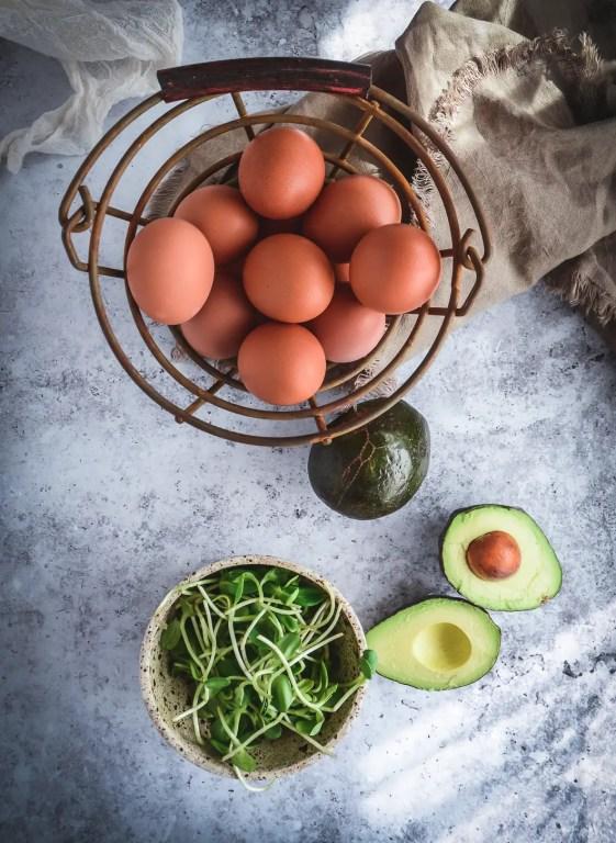 eggs, avocados and greens