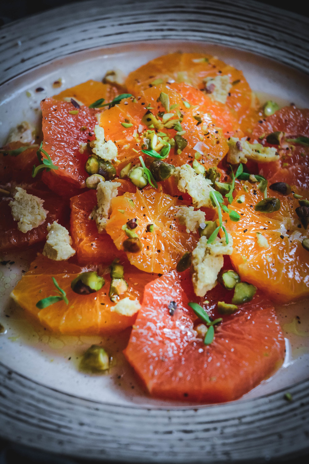 Citrus Salad with Cashew Cheese and Toasted Pistachios